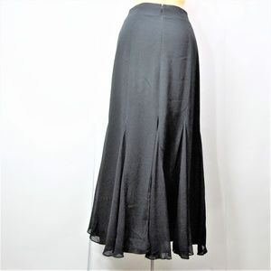 Kenar Long Trumpet Skirt 100% Silk Black